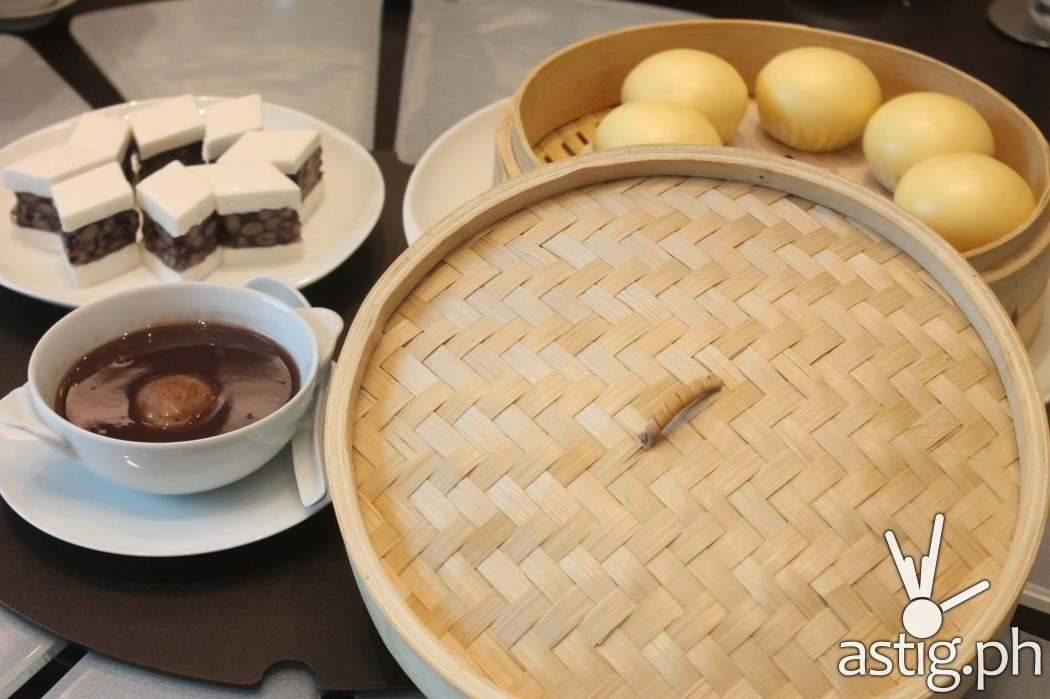 Desserts (L-R) Coconut pudding, Sweeted Red Bean with dumpling, and Custard Bun with Egg Yolk - Man Ho Chinese restaurant