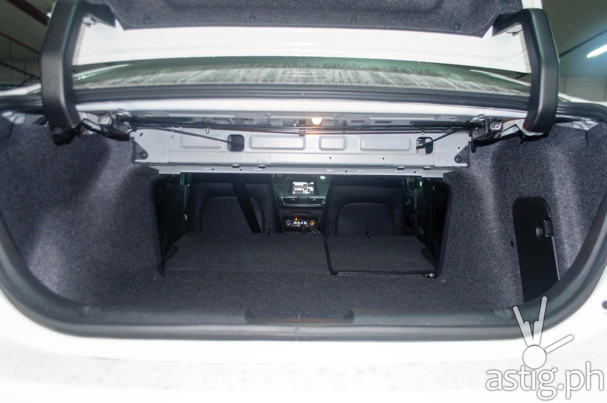 The rear seats on the Mazda3 Sedan can be folded to extend trunk storage