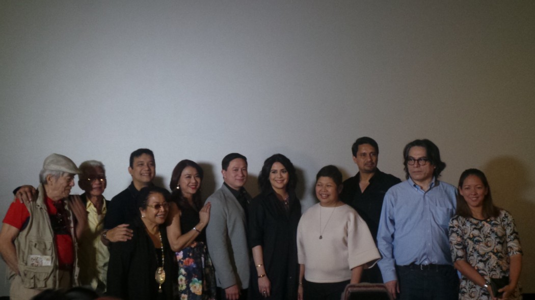 cinematographer Romy Vitug, editor Jess Navarro, Richard Reynoso who sang the theme song, Vangie Labalan, writer Raquel Villavicencio, Eric Quizon, Ayala Malls' Ms. Rowena Tomeldan, Dawn Zulueta, Richard Gomez, Director Carlitos Siguion-Reyna and Guila Alvarez,