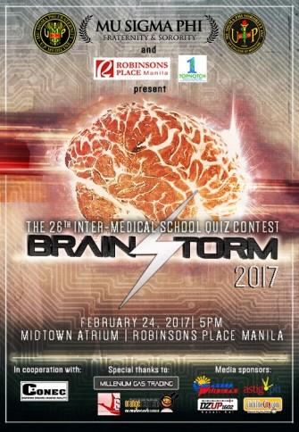 Brainstorm 2017: 26th Inter-Medical School Quiz Contest, Feb 24 @ Robinsons Place Manila