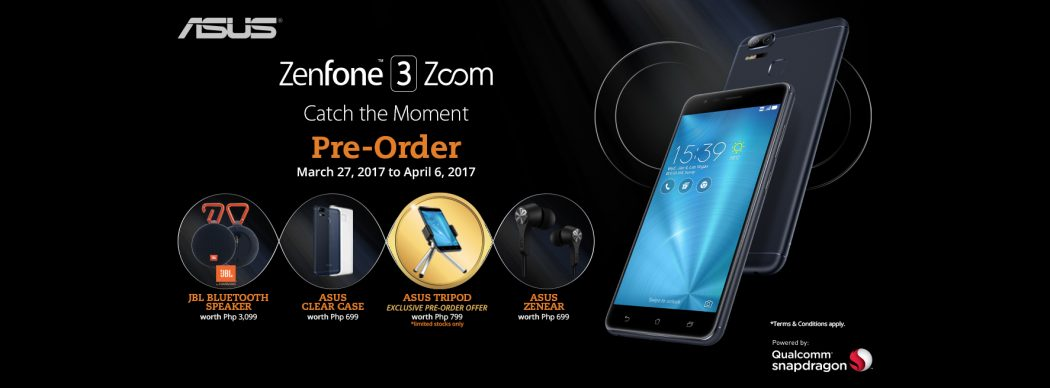 Pre-order the ZenFone 3 Zoom today to get freebies such as a tripod, clear case, and JBL Bluetooth Speakers worth P3,099