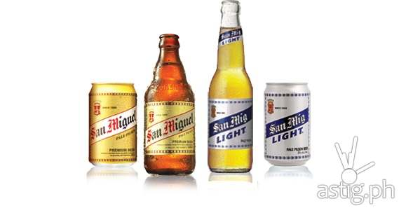 Both the San Miguel Pale Pilsen and San Mig Light contain 5% alcohol, but San Mig Light only contains 100 calories