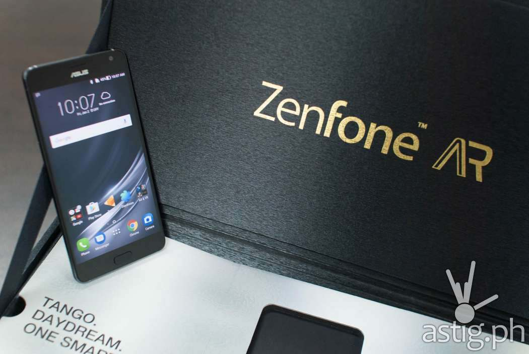 ASUS Zenfone AR standing with media box