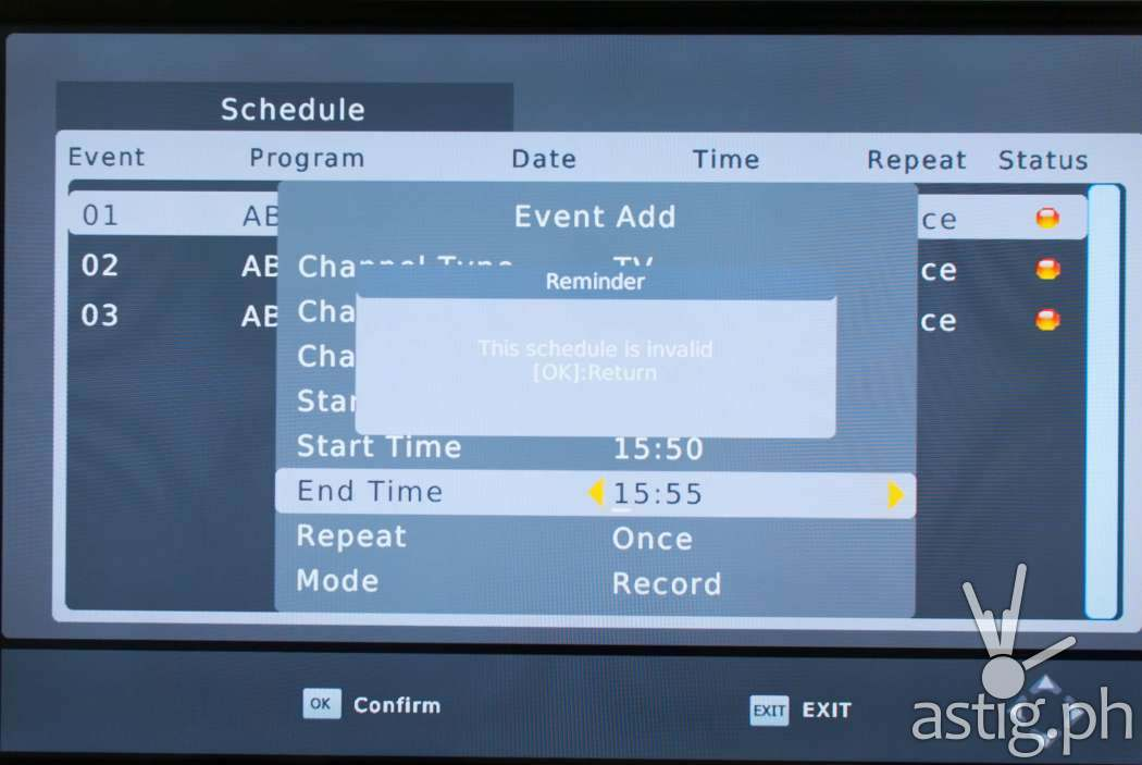Make sure you provide a valid start and end date / time when manually scheduling recordings on the WOW! TV Box