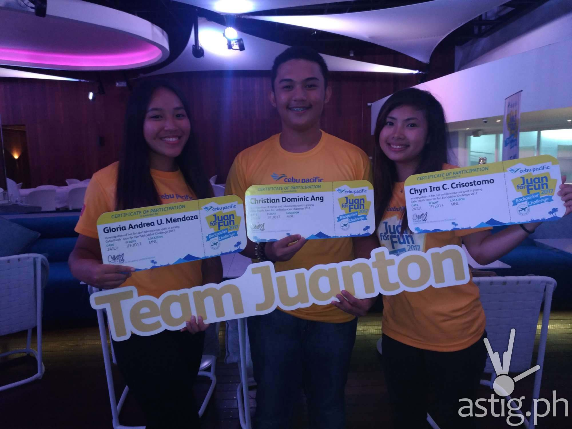 Geia, Chyn, and Cristian from Team Juanton are the winners of the Juan for Fun Backpacker Challenge from Cebu Pacific