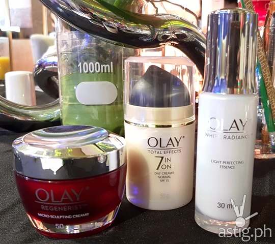 Olay White Radiance, Olay Total Effects, and Olay Regenerist