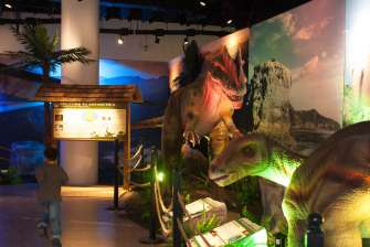 Iguanodon and Neovenator - Dinosaurs Around The World exhibit - Mind Museum BGC
