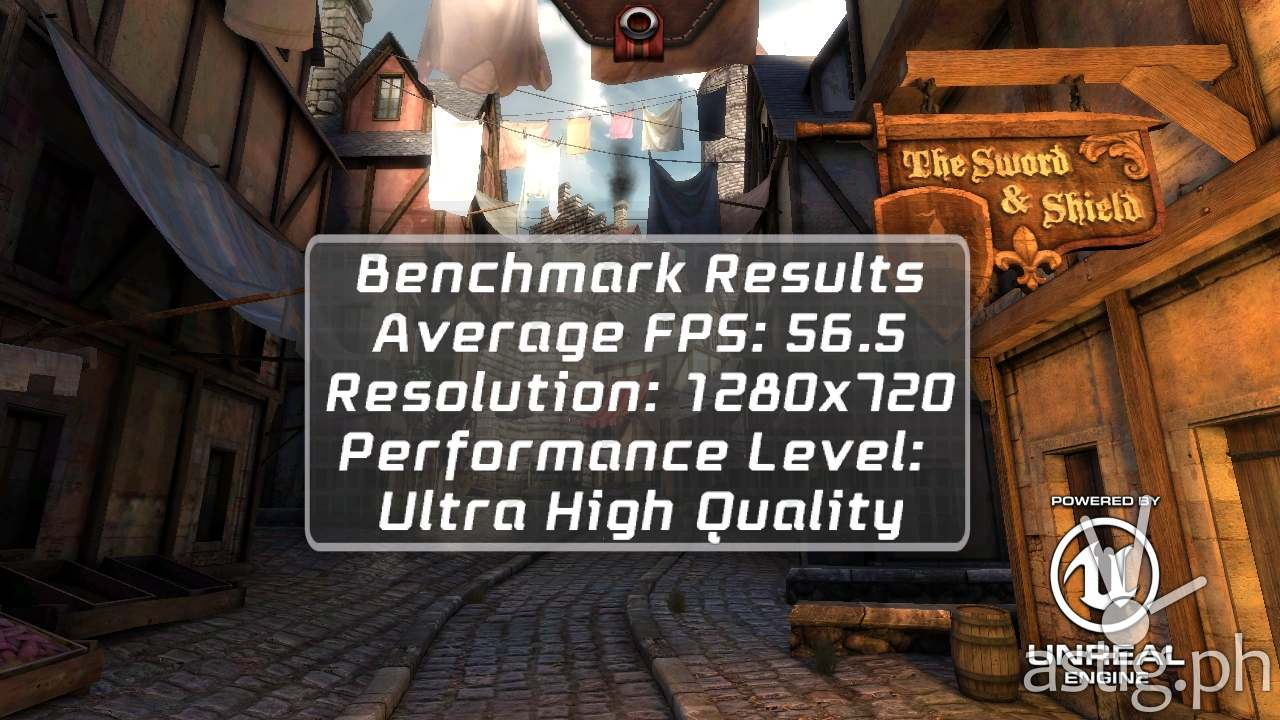 3D gaming benchmark results (Epic Citadel)