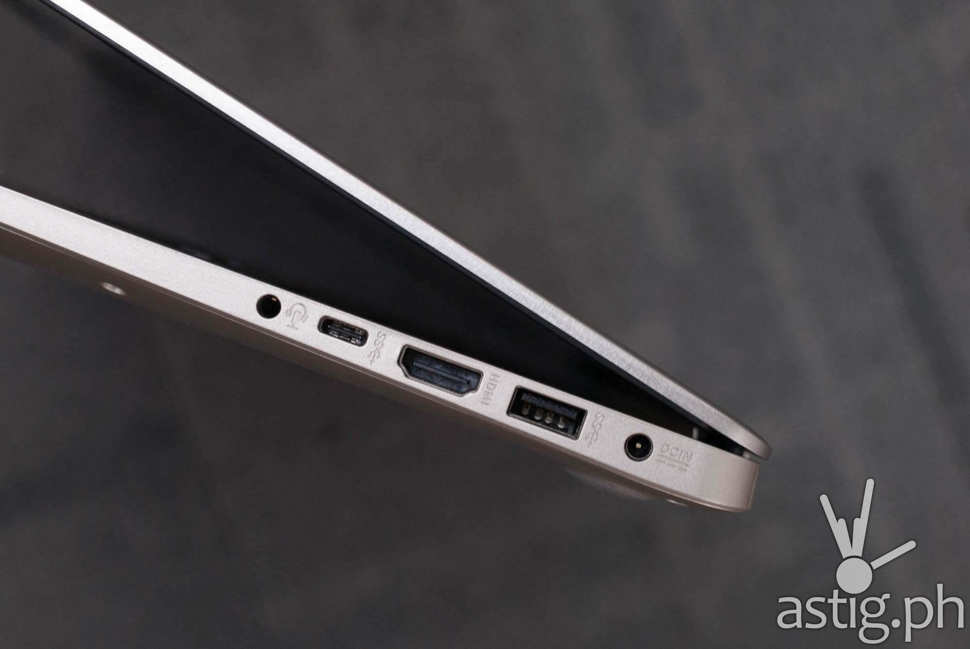 3.5mm port, USB type-C port, HDMI port,, USB type-A port, and power port - ASUS VivoBook S15