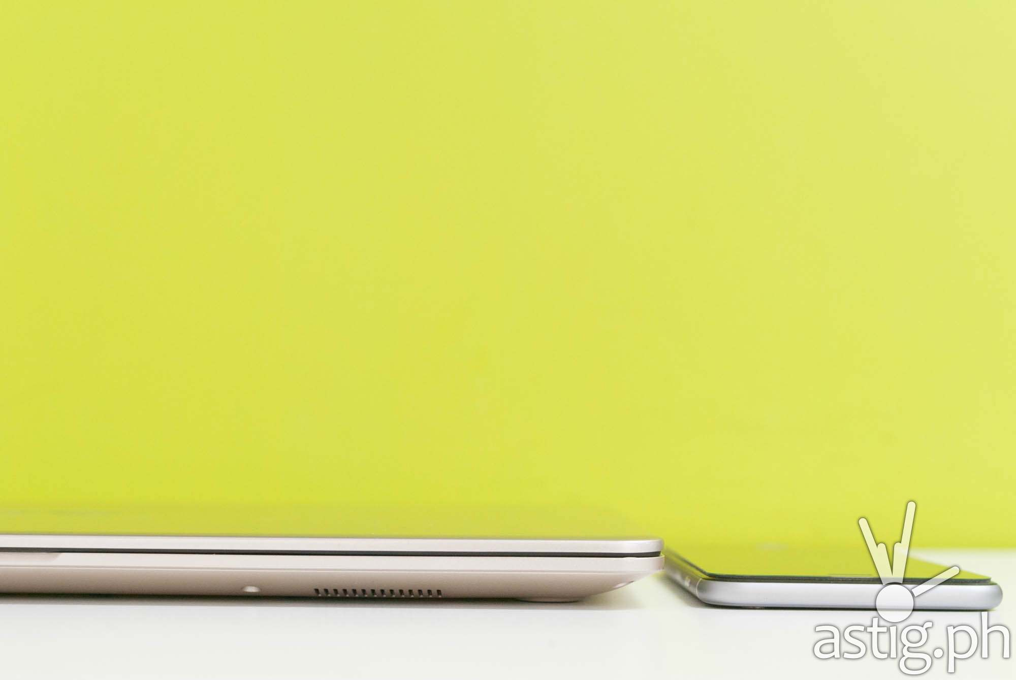 ASUS VivoBook S15 (19.4mm) thickness comparison vs iPhone Plus (7.2mm)
