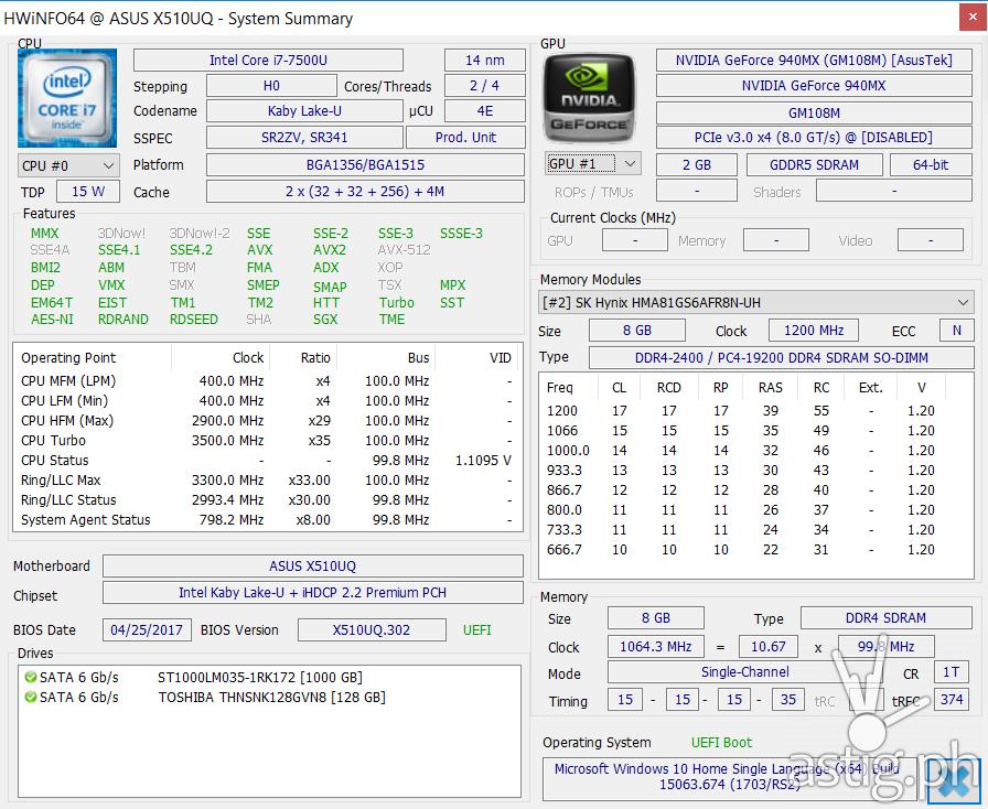 Hardware information summary showing, CPU, GPU, storage, memory, and operating system (via HWiNFO) - ASUS VivoBook S15