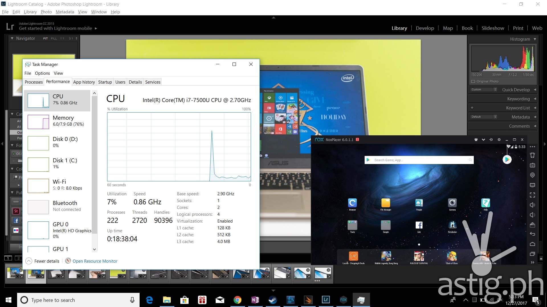 Resource utilization while running Lightroom, Nox, Steam, 3D Mark, Battle.Net and Chrome - ASUS VivoBook S15