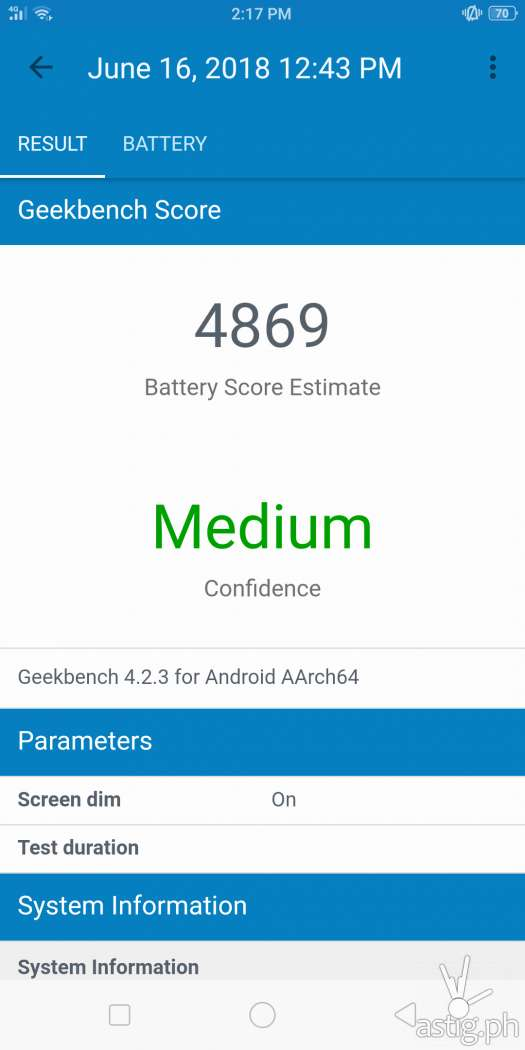 OPPO F7 Youth battery benchmark results: Geekbench (partial discharge)