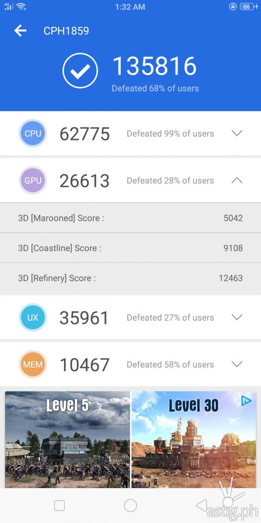OPPO F7 3D benchmark - Antutu