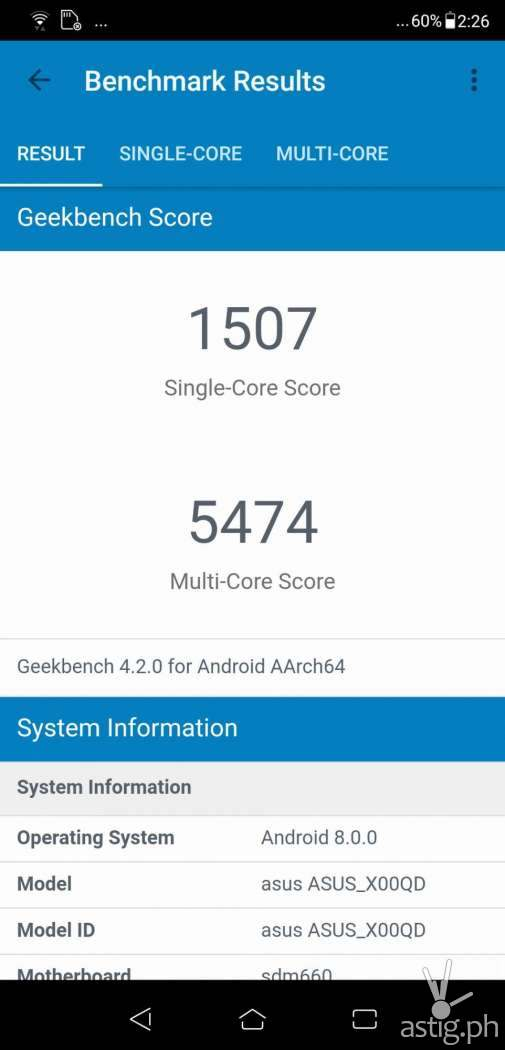Zenfone 5 Geekbench benchmark results