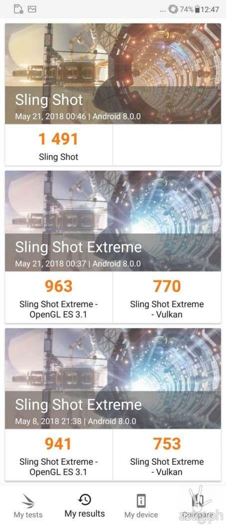 Zenfone 5 graphics test results - 3DMark Sling Shot