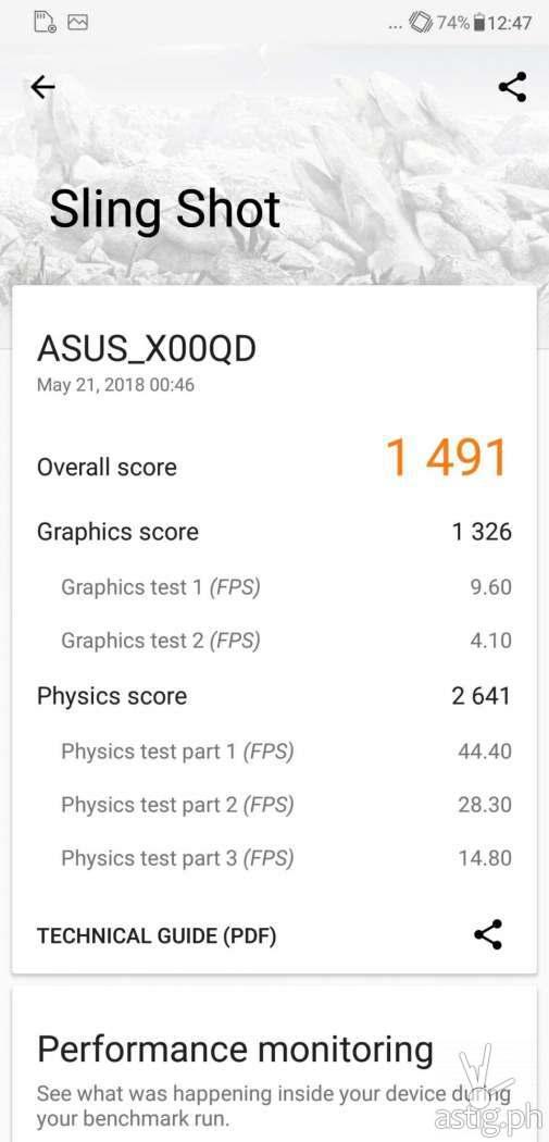 Zenfone 5 graphics test results - 3DMark Sling Shot details