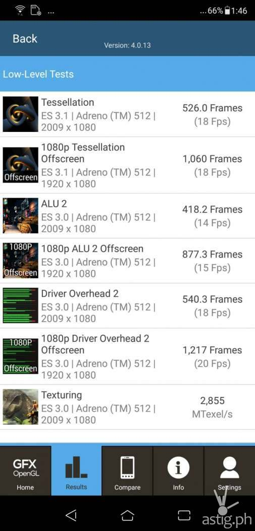 Zenfone 5 graphics test results - GFXBench