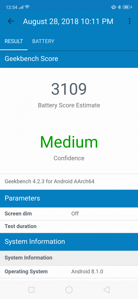 Geekbench battery life benchmark (partial discharge) at 50% brightness - OPPO F9