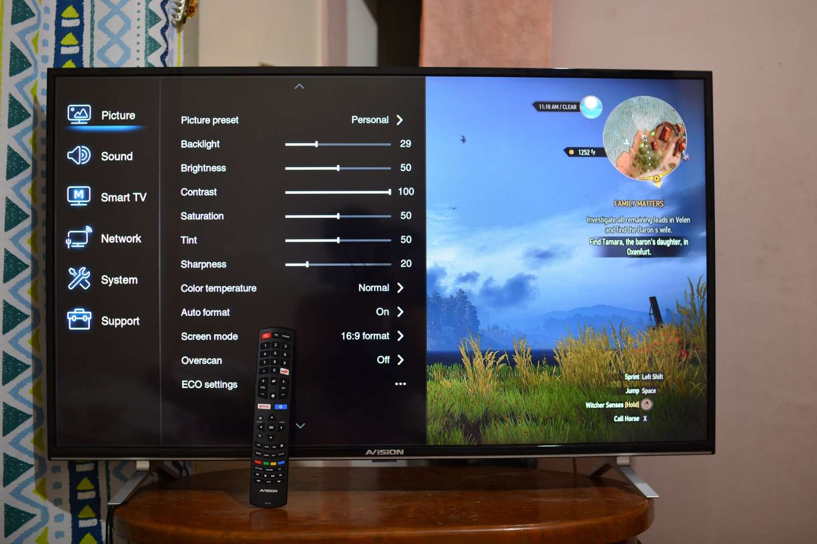 AVision 43FL801 Smart LED TV - display settings