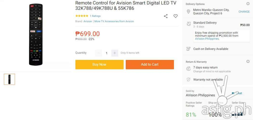 Avision Smart Digital LED TV remote control