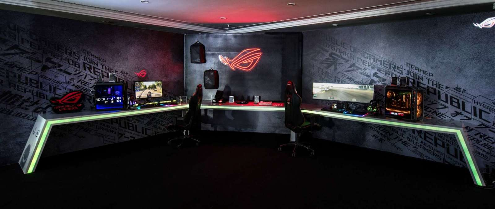 Complete lineup of ROG gear is displayed in demo area of Incredible Intelligence 2018 press event in Malaysia
