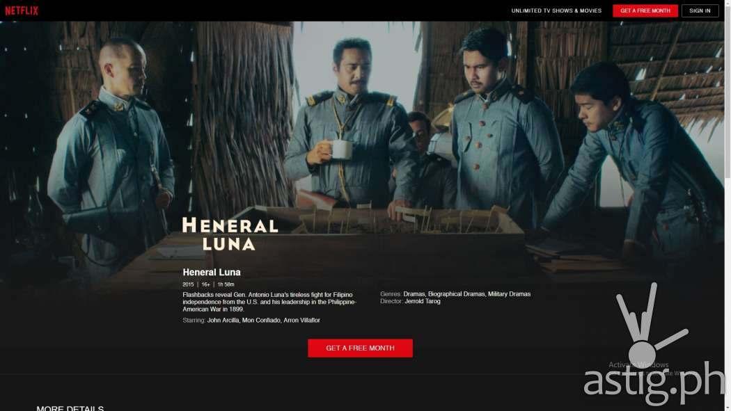 Heneral Luna title page - Netflix Philippines