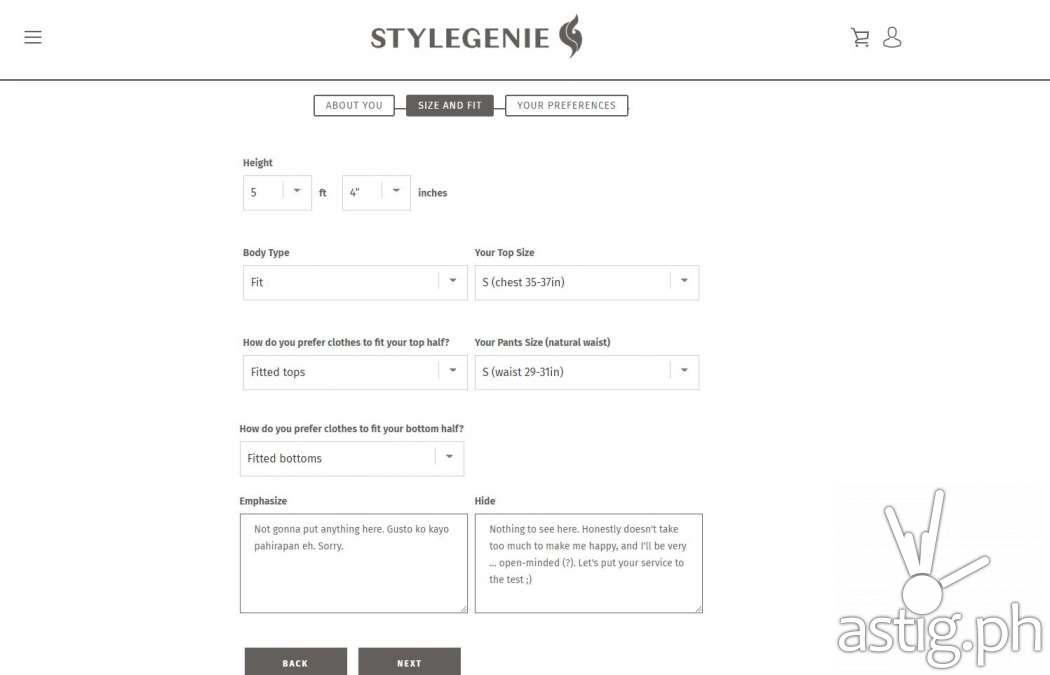 StyleGenie profile page 2