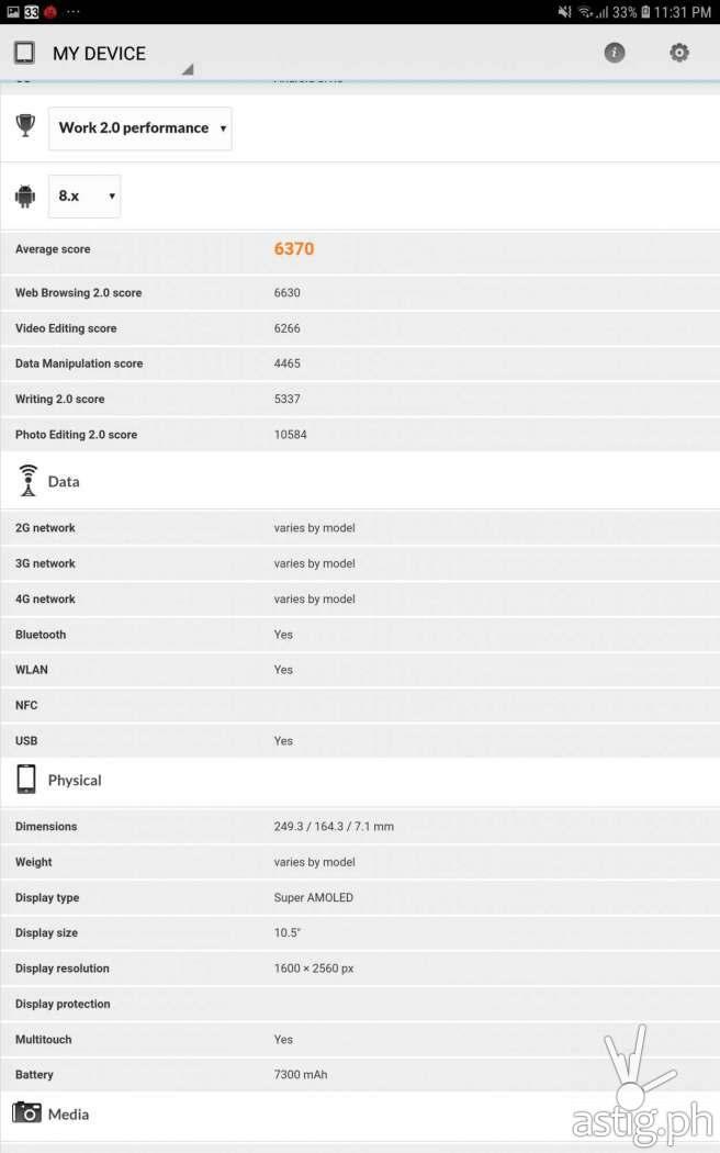 PCMark - Samsung Galaxy Tab S4