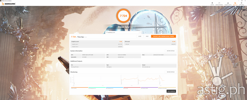 3DMark Time Spy benchmark test results - ROG GL12CX