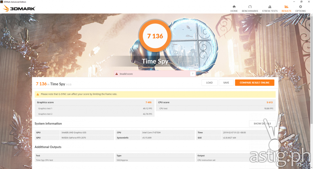 3DMark Time Spy benchmark test results - ROG GL704GW STRIX SCAR II