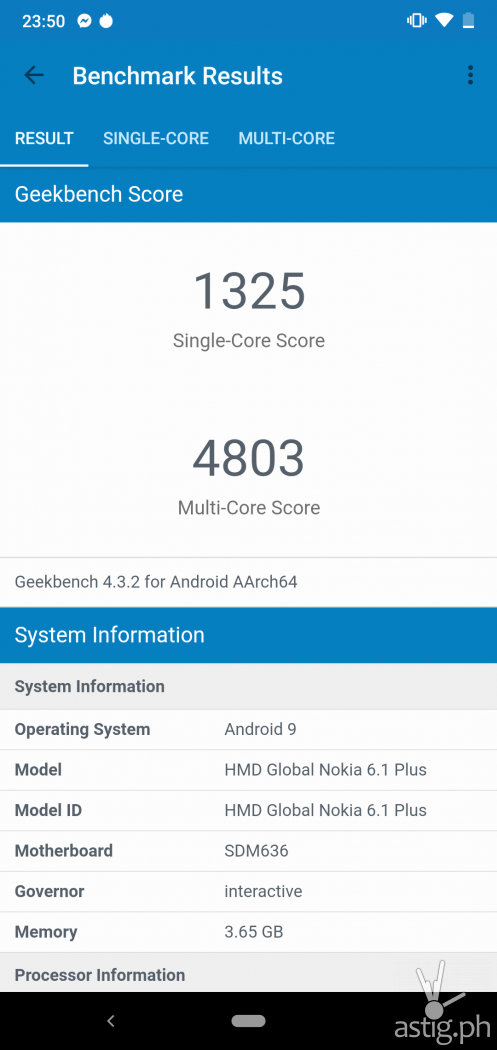 Performance benchmark (Geekbench) - Nokia 6.1 Plus (Philippines)