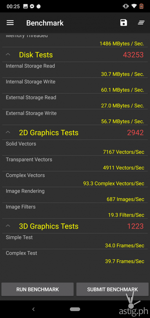 Performance benchmark (Passmark) disk & graphics - Nokia 6.1 Plus (Philippines)