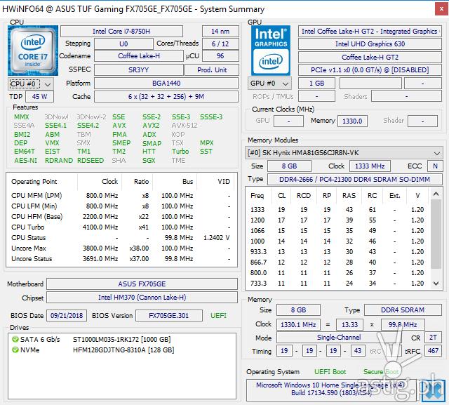 HWiNFO64 - ASUS TUF Gaming FX705GE