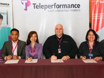 Teleperformance Philippines' Human Capital Resource Management Senior Vice President Jeffrey Johnson (second from right), together with Rachel Cacabelos, Vice President for Human Resources, Marilyn Romero-Ventenilla, Senior Director for Communications and Marketing, and Philip Del Rosario, Diversity and Inclusion Manager, drive the organization-wide campaign for equal opportunities for all in the workplace