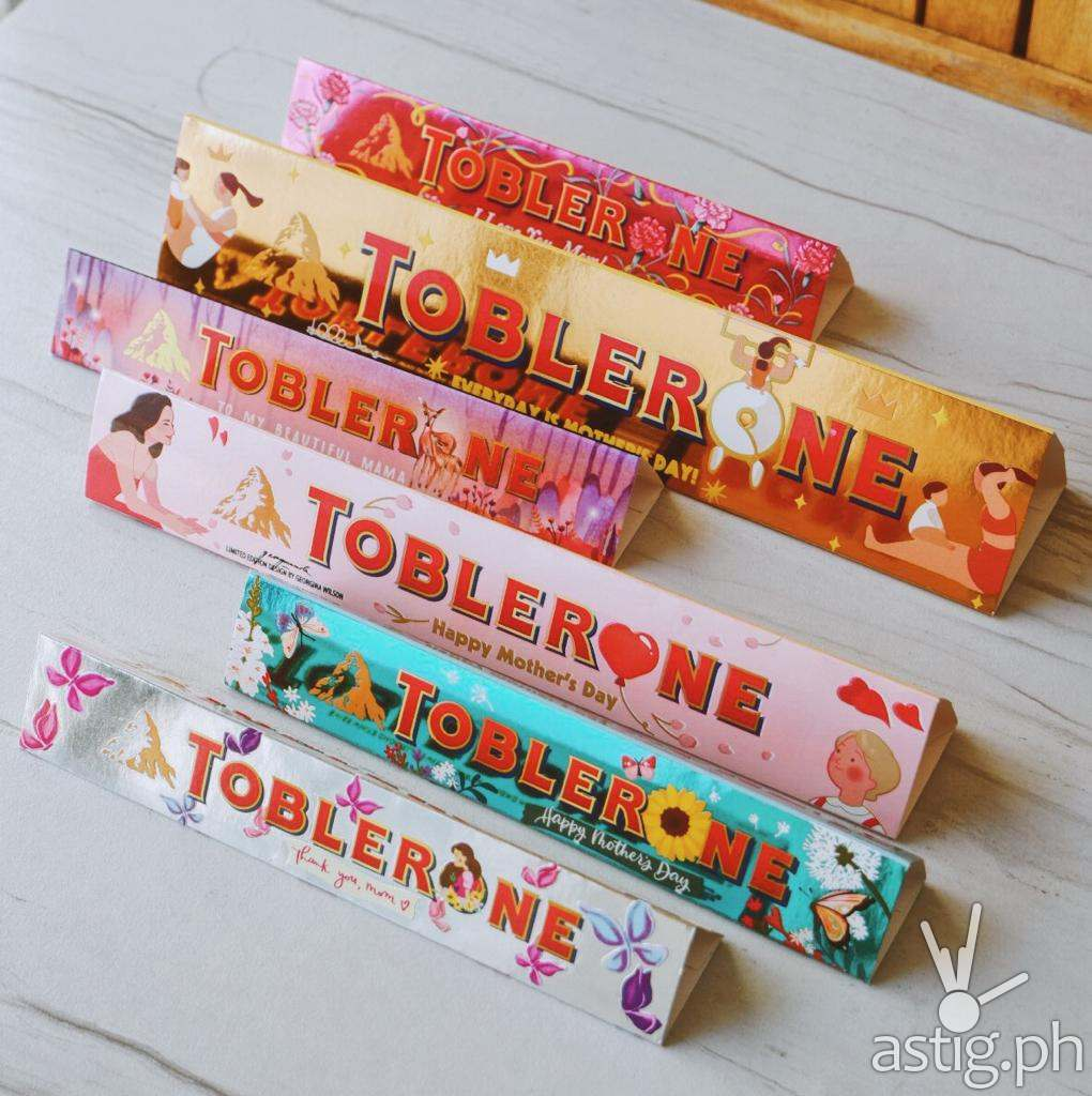 Isabelle Daza and Georgina Wilson designed these Mother's Day themed Toblerone sleeves!