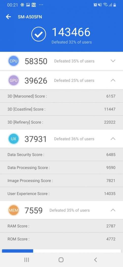 AnTuTu Benchmark - Samsung Galaxy A50