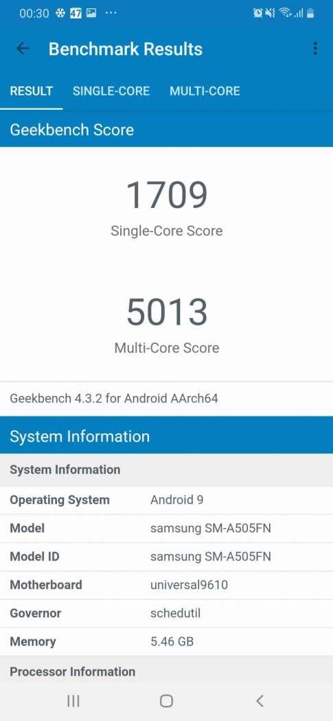 Geekbench 4 - Samsung Galaxy A50
