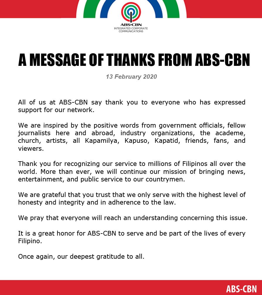ABS-CBN franchise renewal press statement