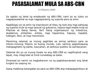 ABS-CBN franchise renewal press statement (Filipino)