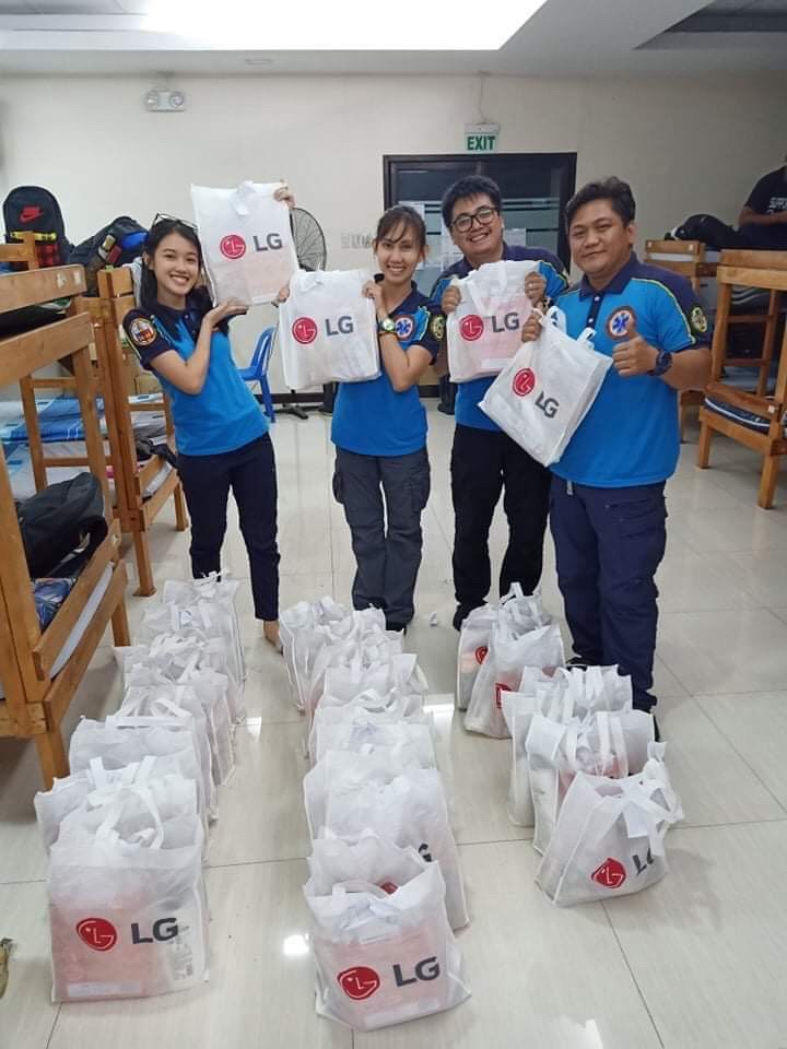Pasig City staff getting ready to distribute 500 bags of personal care kits