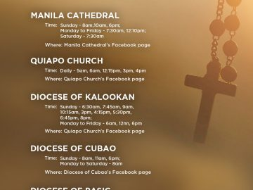Holy Week 2020 online mass schedule (Philippines)