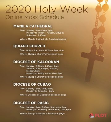 Holy Week 2020 online mass schedule (Philippines)