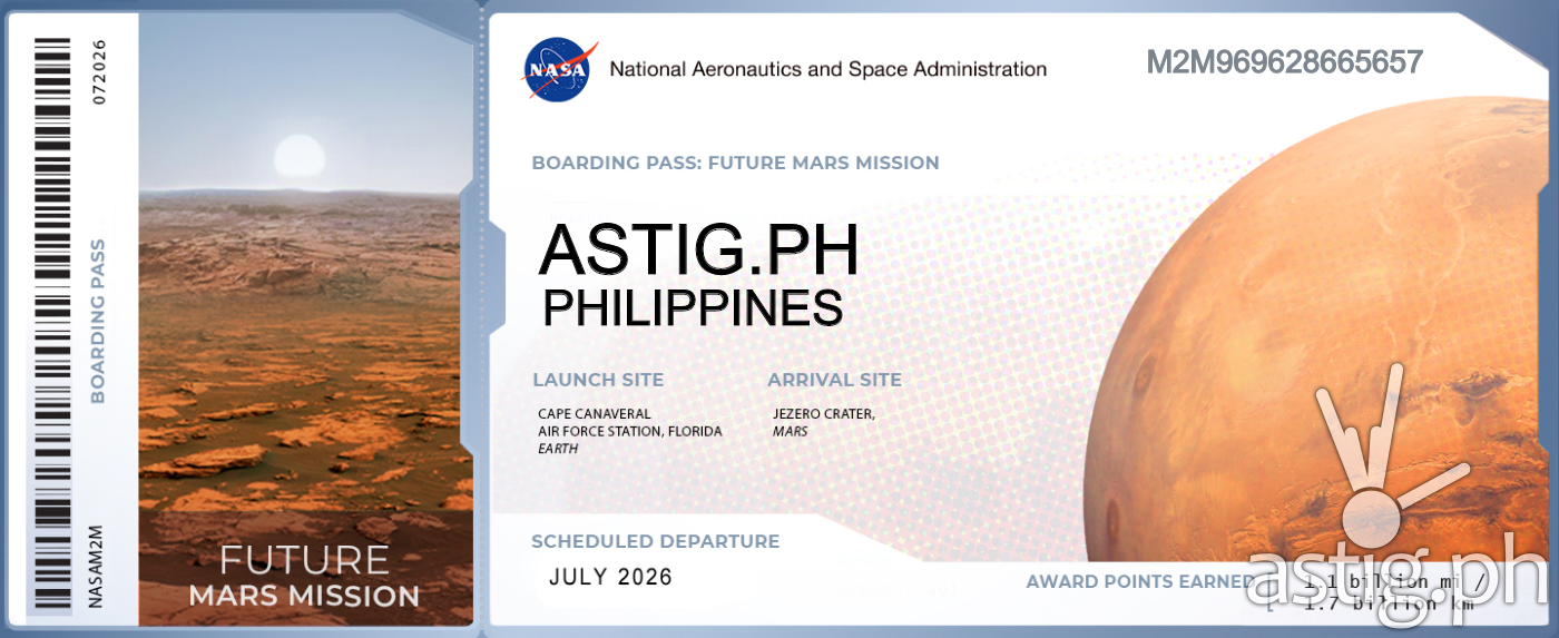 NASA Mars Mission boarding pass ASTIG Philippines