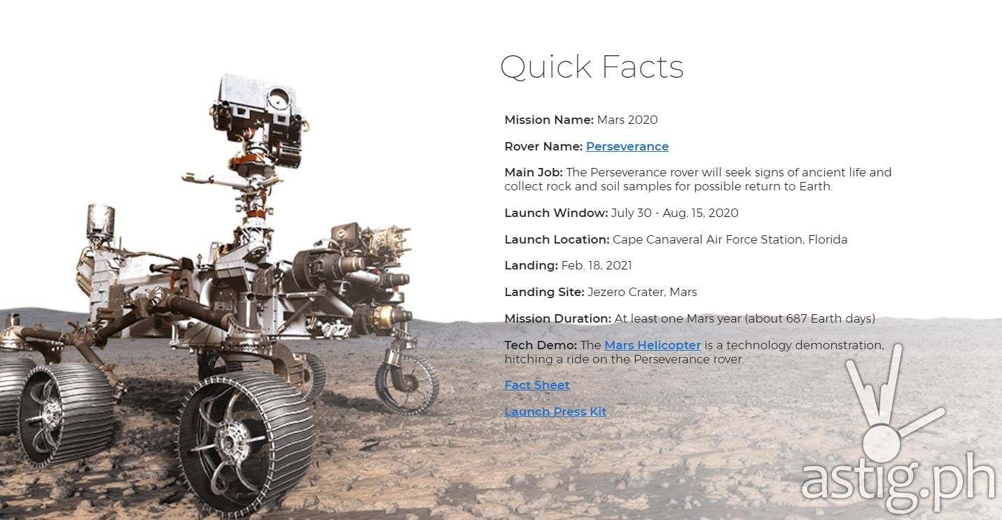 NASA Perseverance launch information