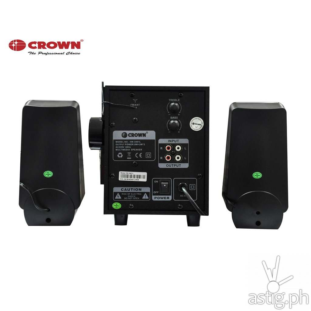 Back - Crown HM-3401L 2.1 Channel Home Theater System