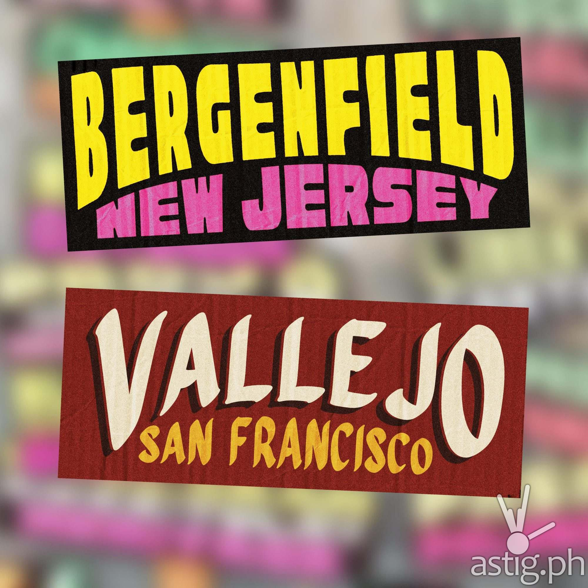 Bergenfield, New Jersey, Vallejo, San Francisco - US cities as jeepney signs from the Philippines by Zach Reyes