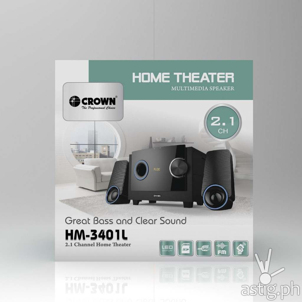 Box - Crown HM-3401L 2.1 Channel Home Theater System