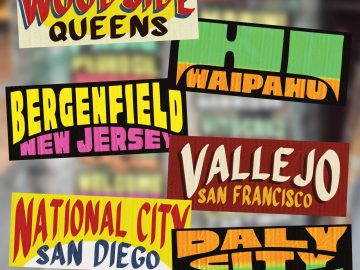 Collage 1 - US cities as jeepney signs from the Philippines by Zach Reyes