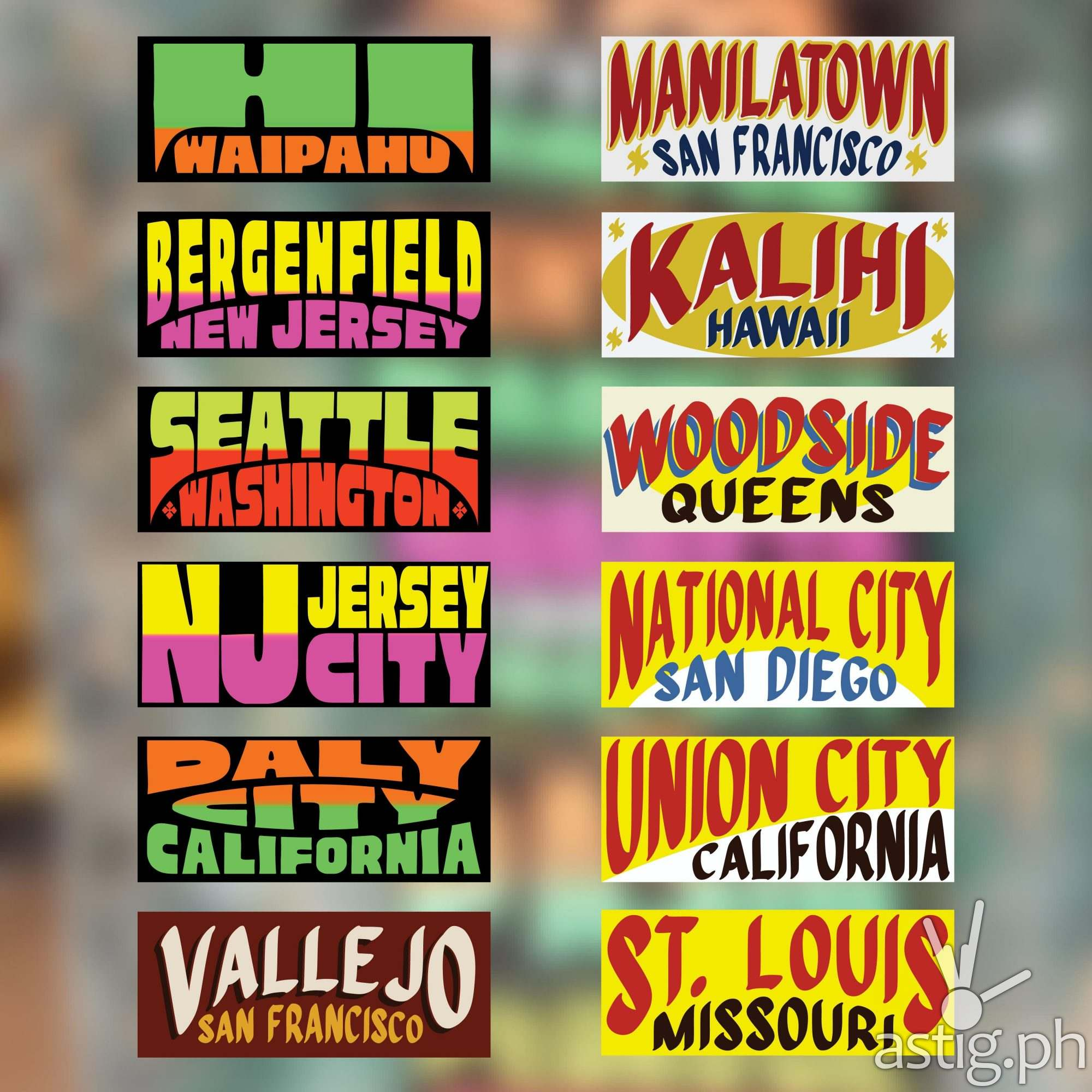 Collage 2 - US cities as jeepney signs from the Philippines by Zach Reyes